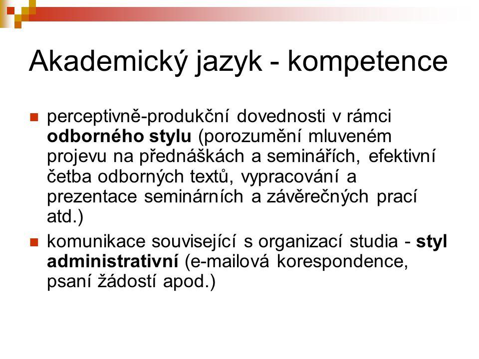 Akademický jazyk - kompetence