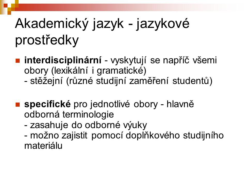 Akademický jazyk - jazykové prostředky
