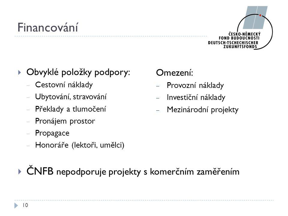 Financování ČNFB nepodporuje projekty s komerčním zaměřením