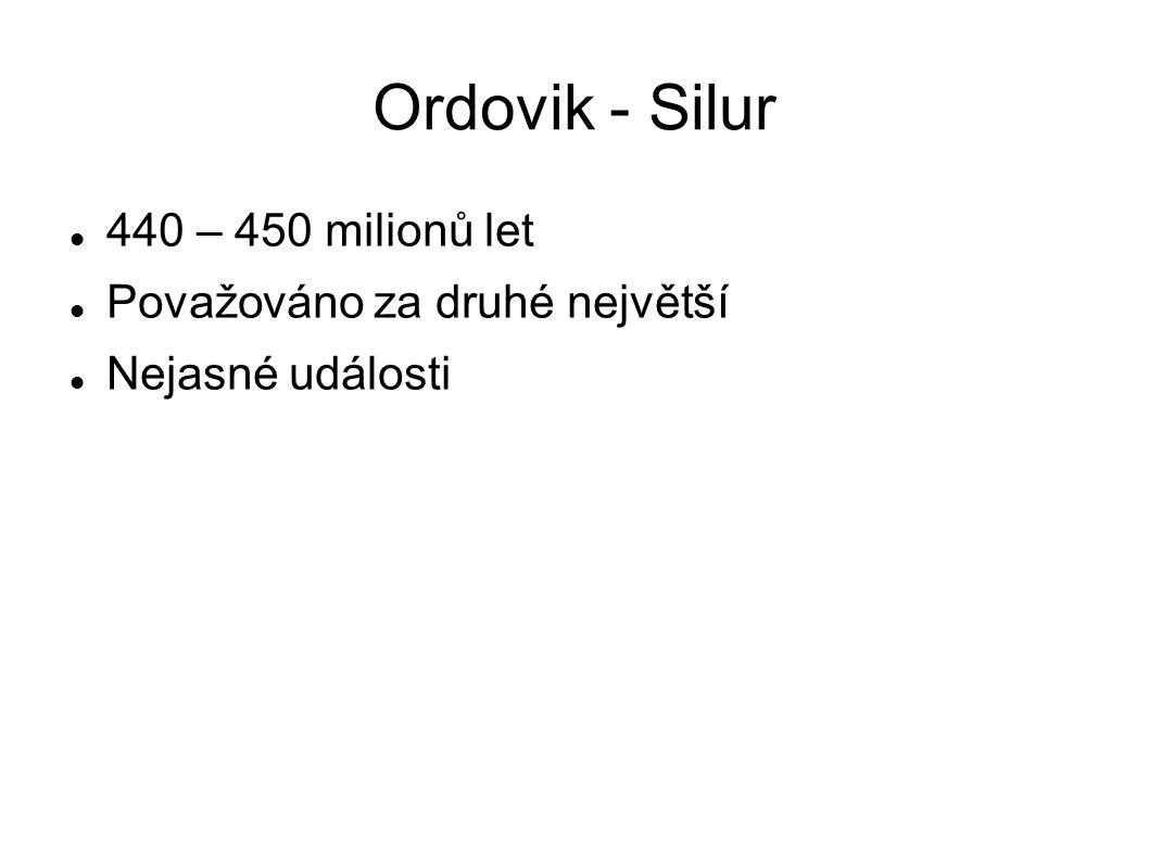 Ordovik - Silur 440 – 450 milionů let Považováno za druhé největší