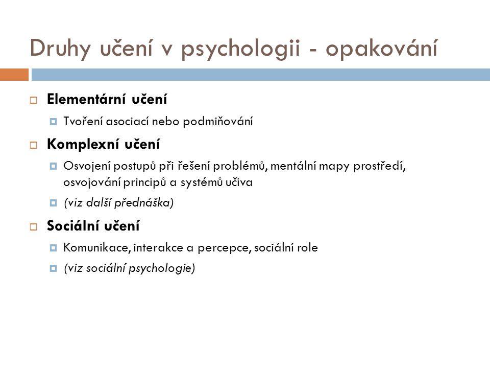 Druhy učení v psychologii - opakování