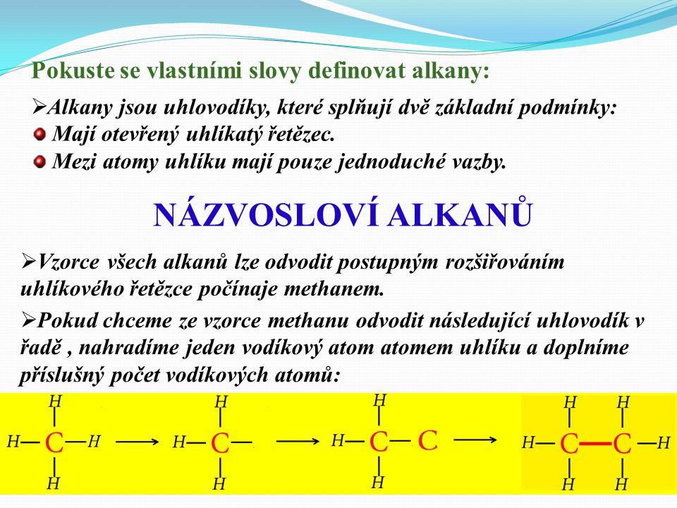 NÁZVOSLOVÍ ALKANŮ Pokuste se vlastními slovy definovat alkany: