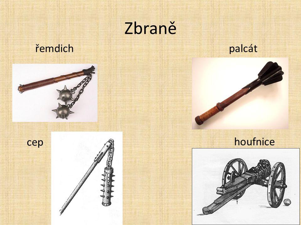 Zbraně řemdich palcát cep houfnice