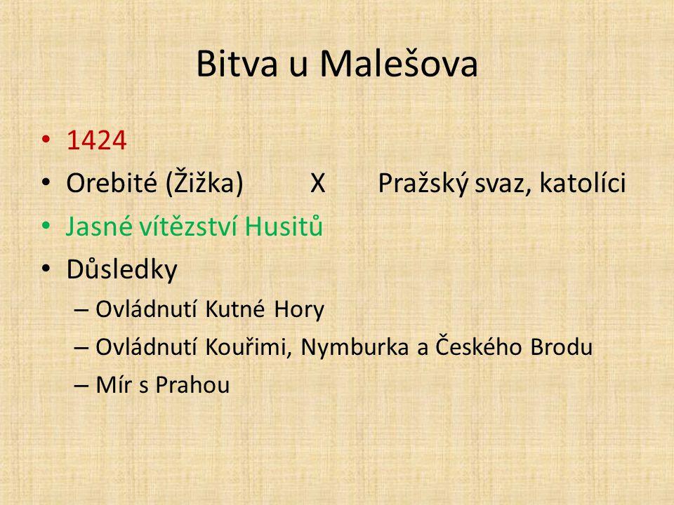 Bitva u Malešova 1424 Orebité (Žižka) X Pražský svaz, katolíci