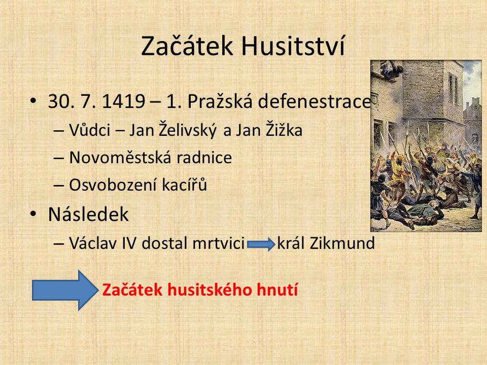 Začátek Husitství 30. 7. 1419 – 1. Pražská defenestrace Následek