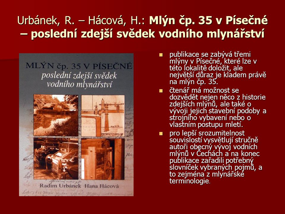 Urbánek, R. – Hácová, H. : Mlýn čp
