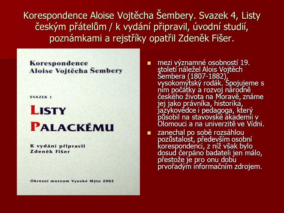 Korespondence Aloise Vojtěcha Šembery