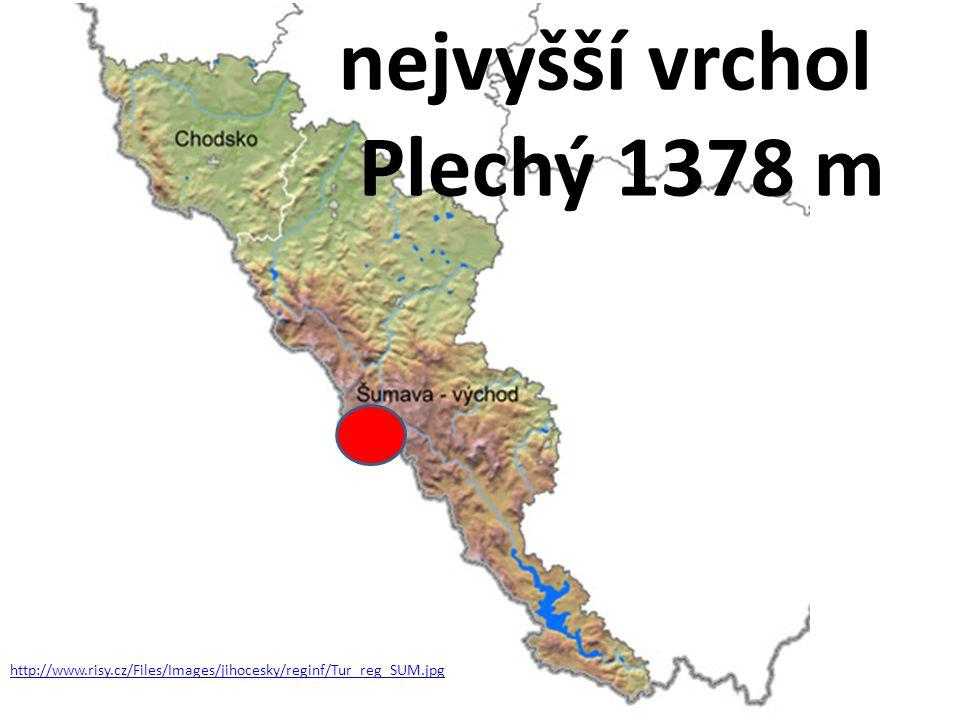 nejvyšší vrchol Plechý 1378 m