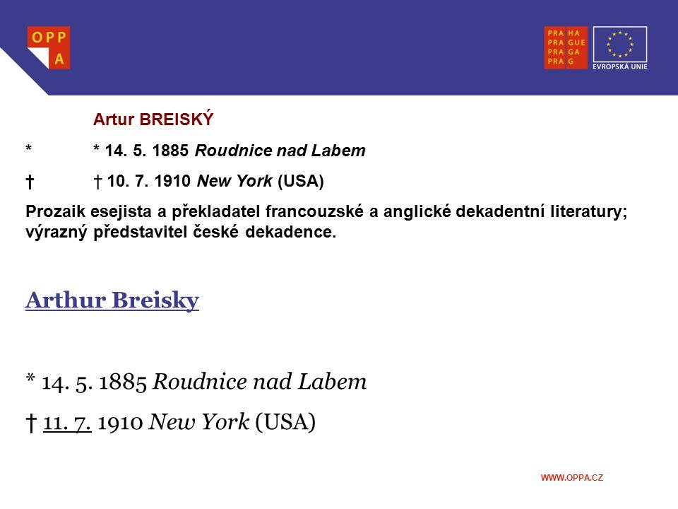 Arthur Breisky * 14. 5. 1885 Roudnice nad Labem