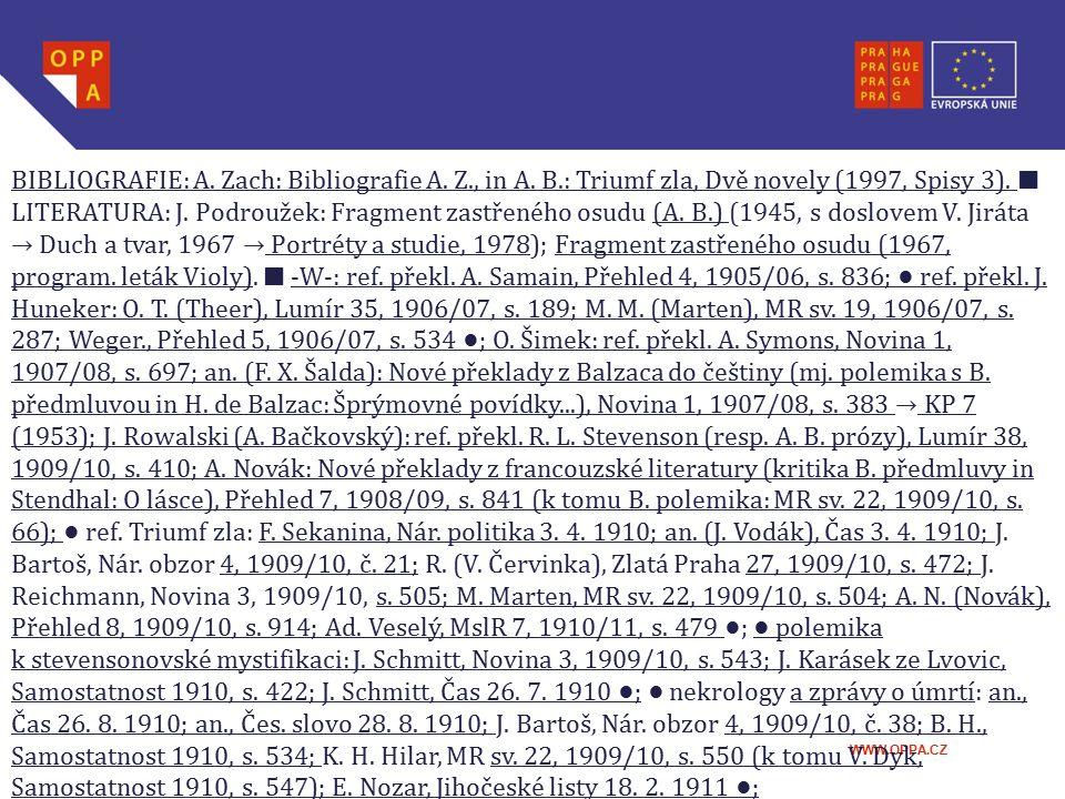 BIBLIOGRAFIE: A. Zach: Bibliografie A. Z. , in A. B