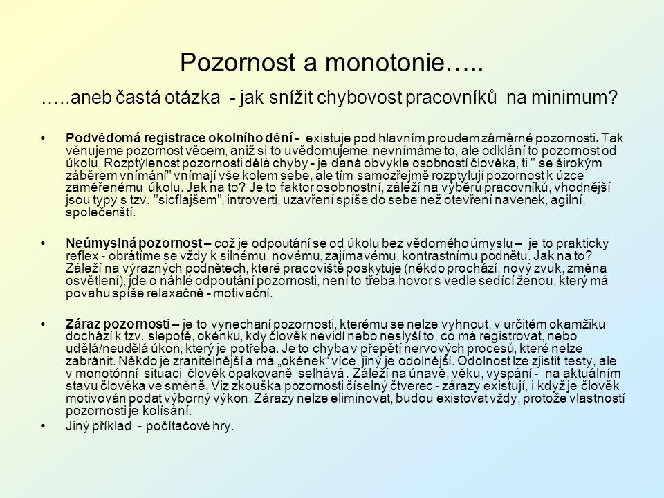Pozornost a monotonie…..