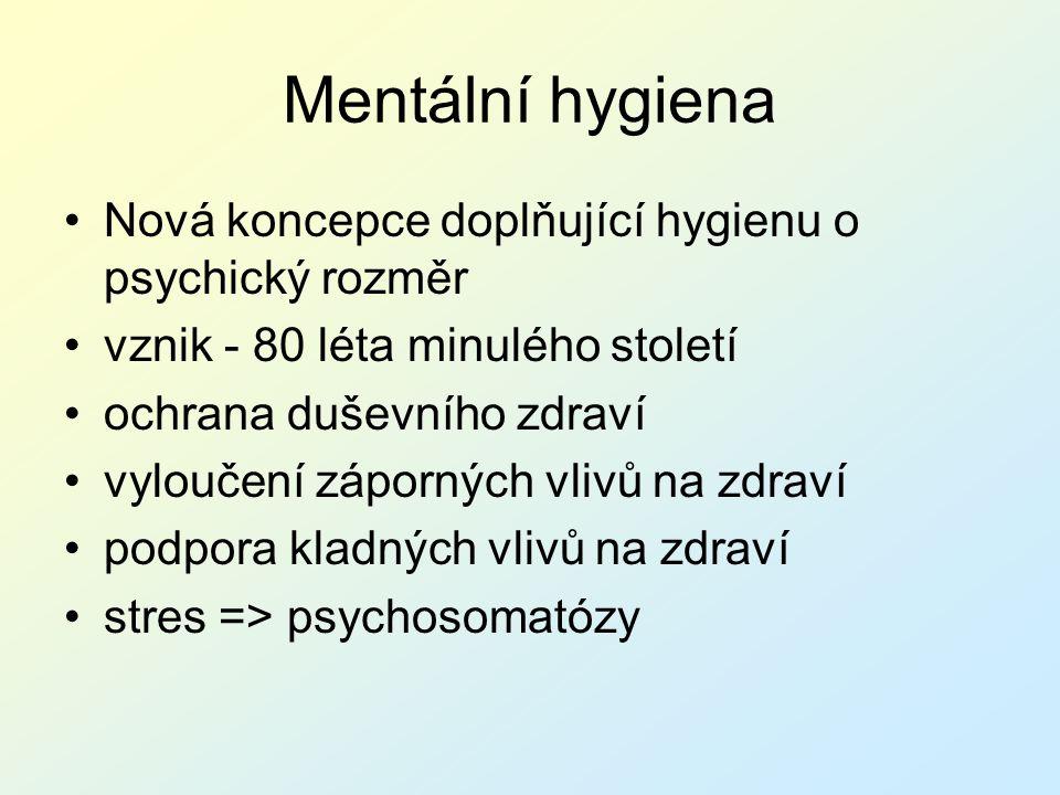 Mentální hygiena Nová koncepce doplňující hygienu o psychický rozměr
