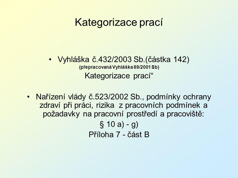 Kategorizace prací Vyhláška č.432/2003 Sb.(částka 142)