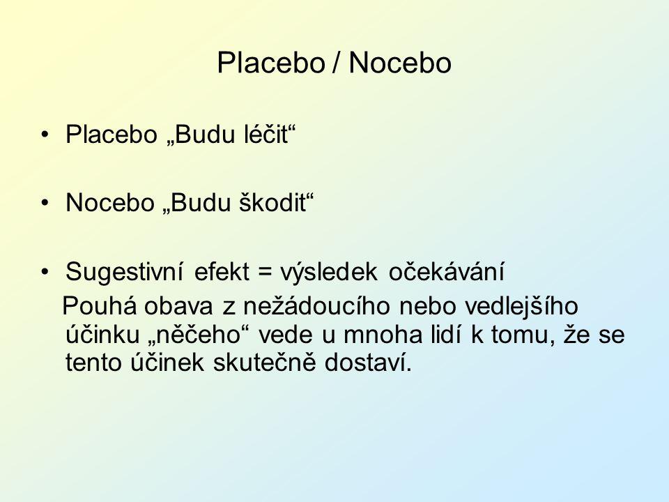 """Placebo / Nocebo Placebo """"Budu léčit Nocebo """"Budu škodit"""