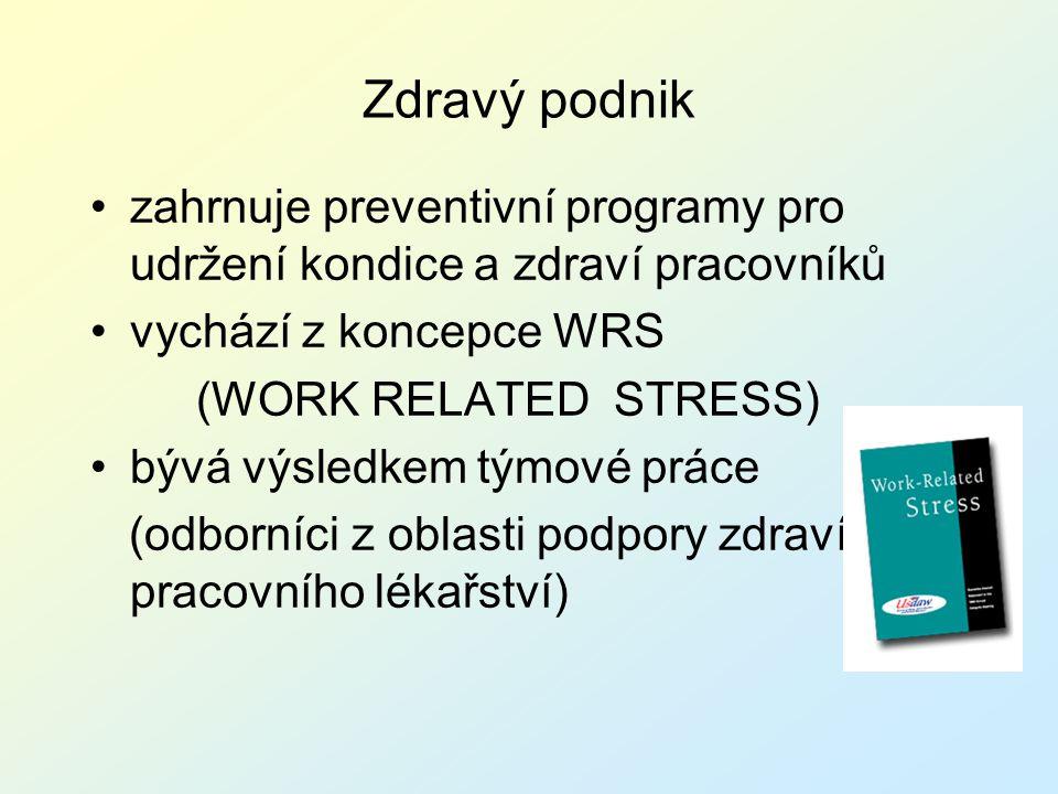 Zdravý podnik zahrnuje preventivní programy pro udržení kondice a zdraví pracovníků. vychází z koncepce WRS.
