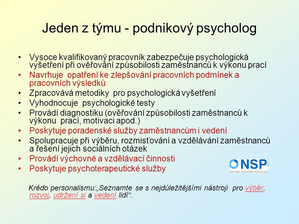 Jeden z týmu - podnikový psycholog