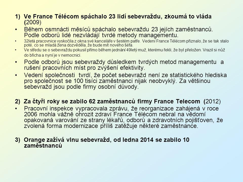 2) Za čtyři roky se zabilo 62 zaměstnanců firmy France Telecom (2012)