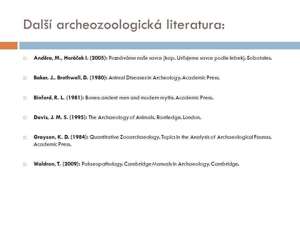 Další archeozoologická literatura: