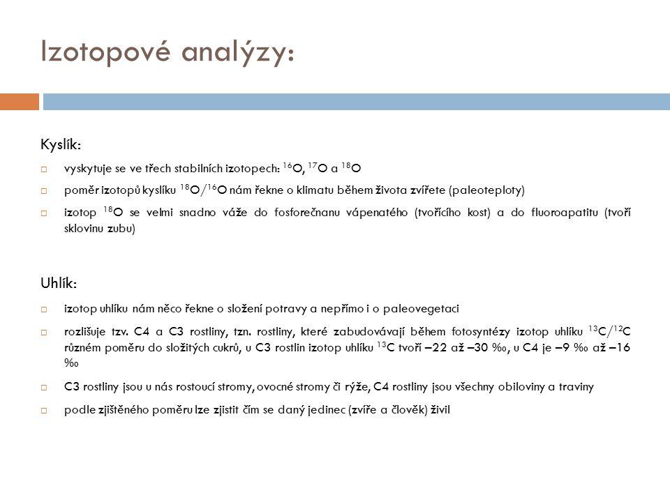 Izotopové analýzy: Kyslík: Uhlík: