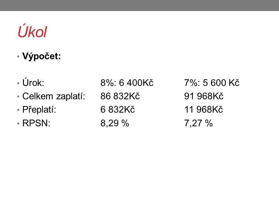 Úkol Výpočet: Úrok: 8%: 6 400Kč 7%: 5 600 Kč