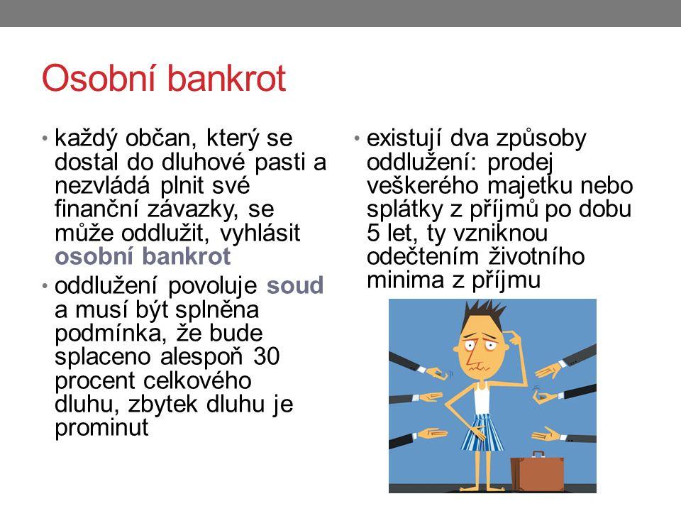Osobní bankrot každý občan, který se dostal do dluhové pasti a nezvládá plnit své finanční závazky, se může oddlužit, vyhlásit osobní bankrot.