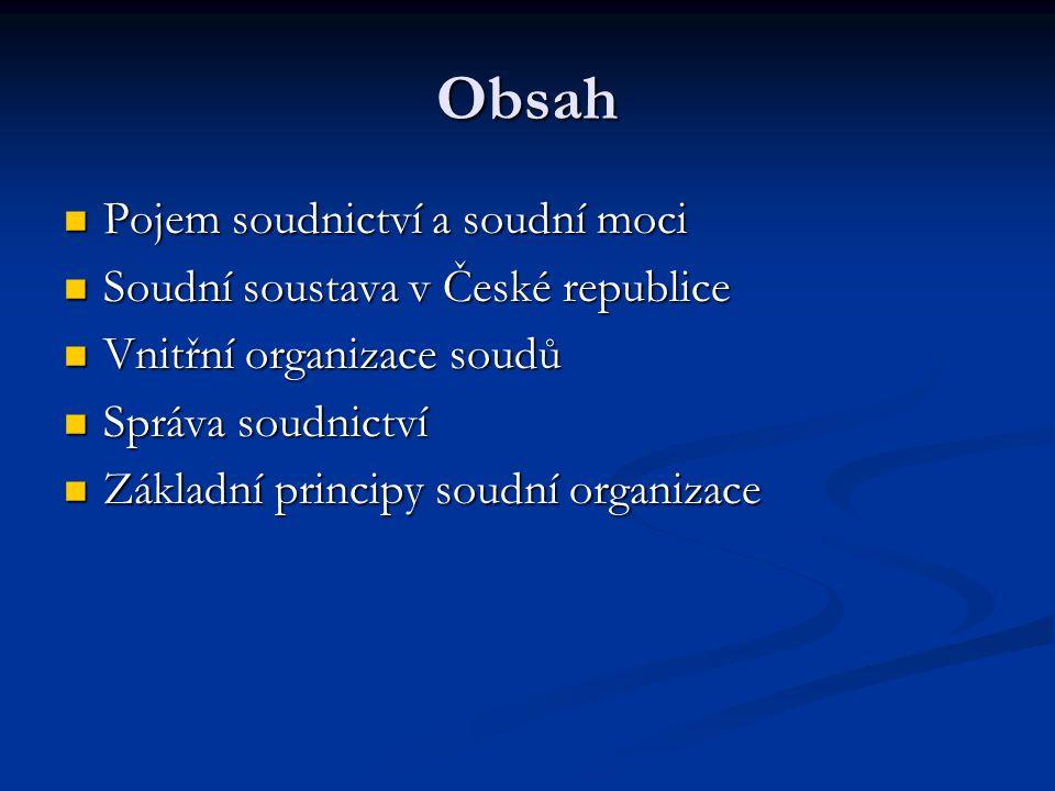 Obsah Pojem soudnictví a soudní moci Soudní soustava v České republice