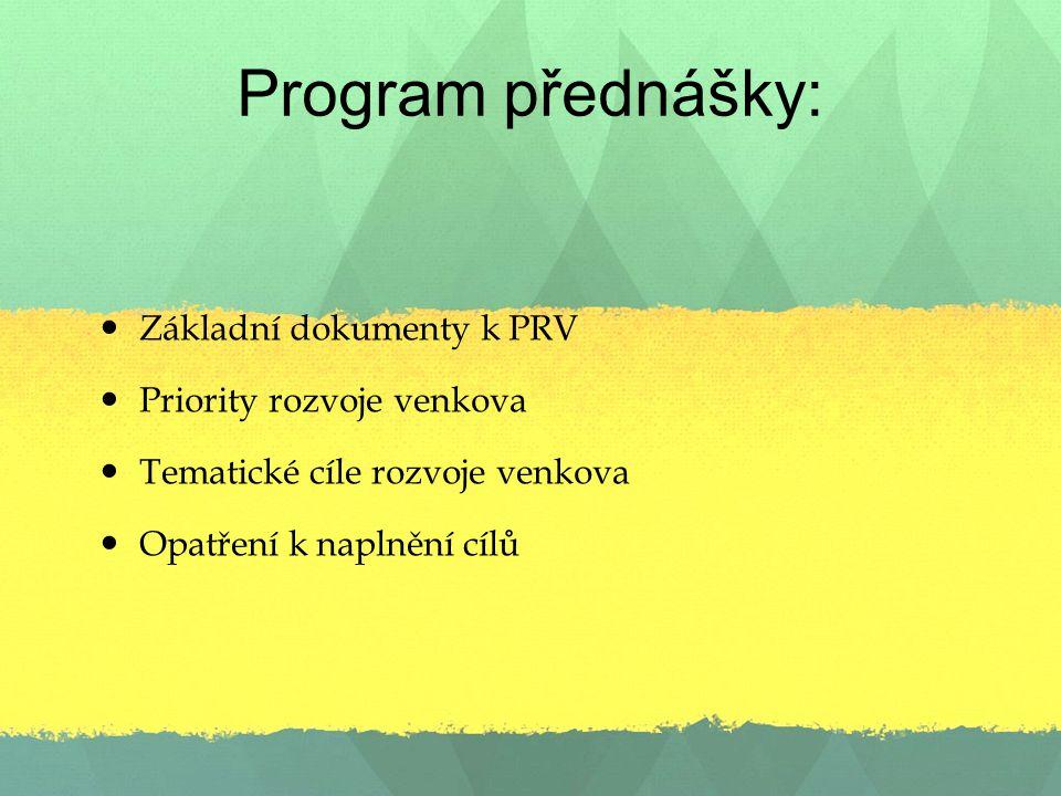 Program přednášky: Základní dokumenty k PRV Priority rozvoje venkova