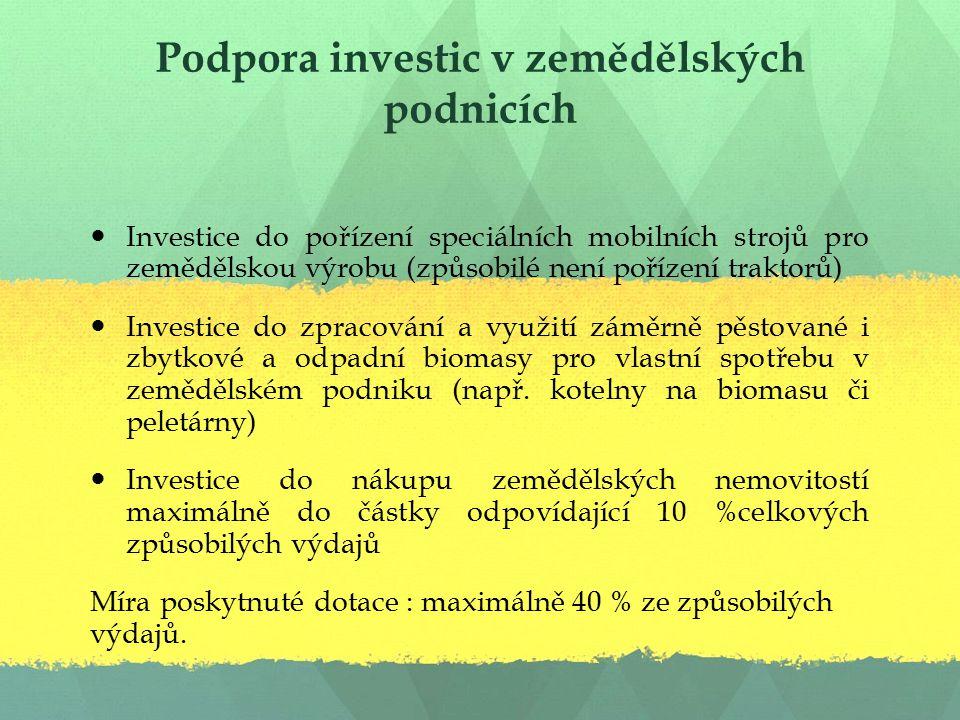 Podpora investic v zemědělských podnicích