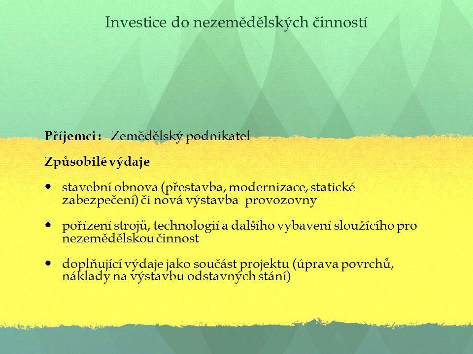 Investice do nezemědělských činností