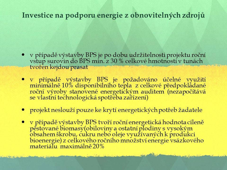 Investice na podporu energie z obnovitelných zdrojů