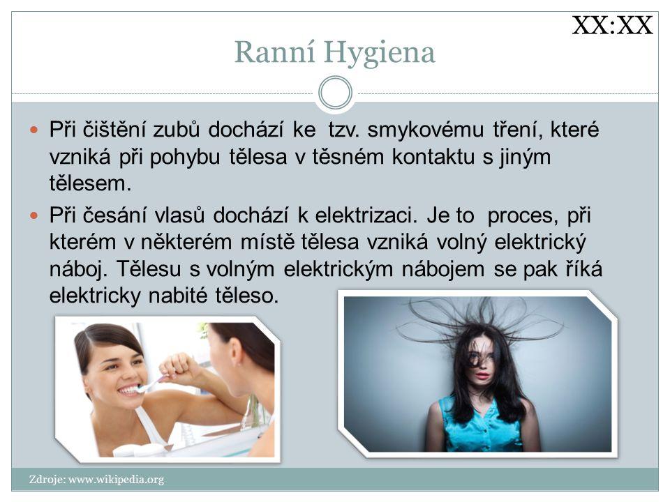 XX:XX Ranní Hygiena. Při čištění zubů dochází ke tzv. smykovému tření, které vzniká při pohybu tělesa v těsném kontaktu s jiným tělesem.