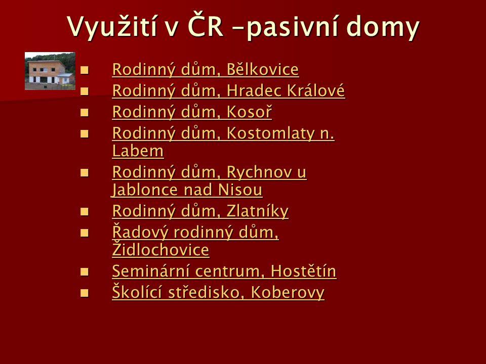 Využití v ČR –pasivní domy