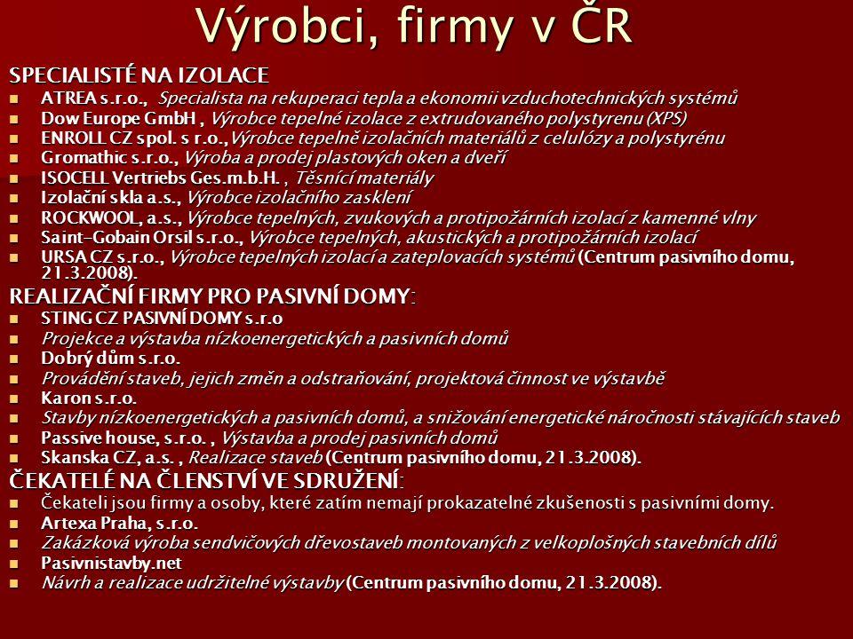 Výrobci, firmy v ČR SPECIALISTÉ NA IZOLACE