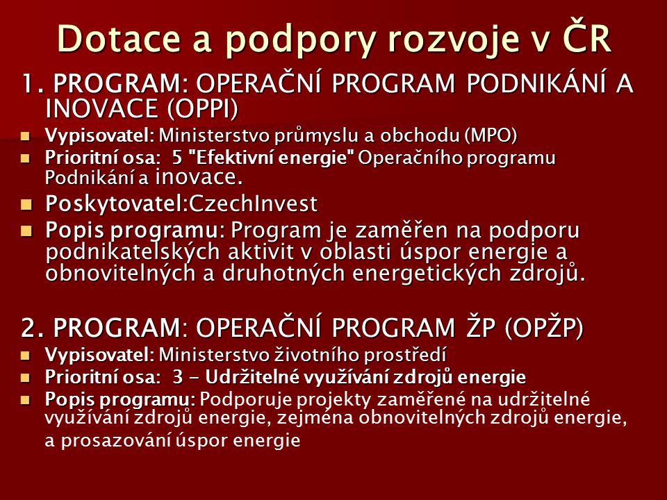 Dotace a podpory rozvoje v ČR