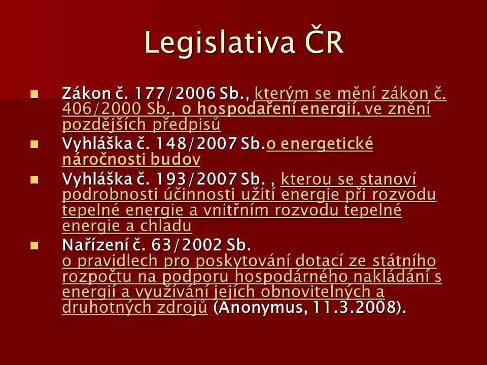 Legislativa ČR Zákon č. 177/2006 Sb., kterým se mění zákon č. 406/2000 Sb., o hospodaření energií, ve znění pozdějších předpisů.