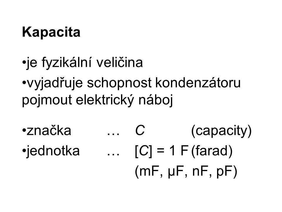 Kapacita je fyzikální veličina. vyjadřuje schopnost kondenzátoru pojmout elektrický náboj. značka … C (capacity)