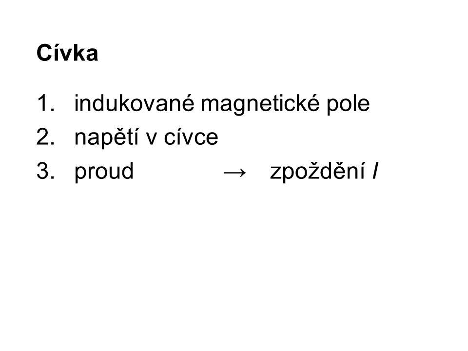 Cívka indukované magnetické pole napětí v cívce proud → zpoždění I