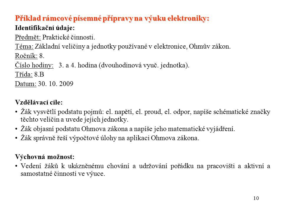 Příklad rámcové písemné přípravy na výuku elektroniky: