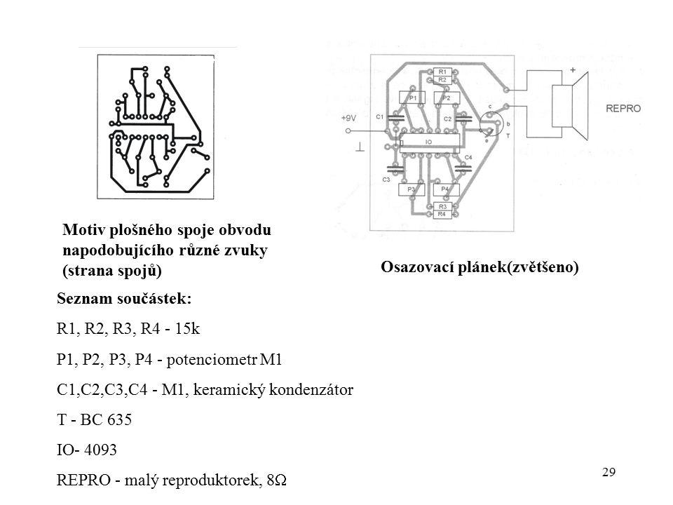 Motiv plošného spoje obvodu napodobujícího různé zvuky (strana spojů)