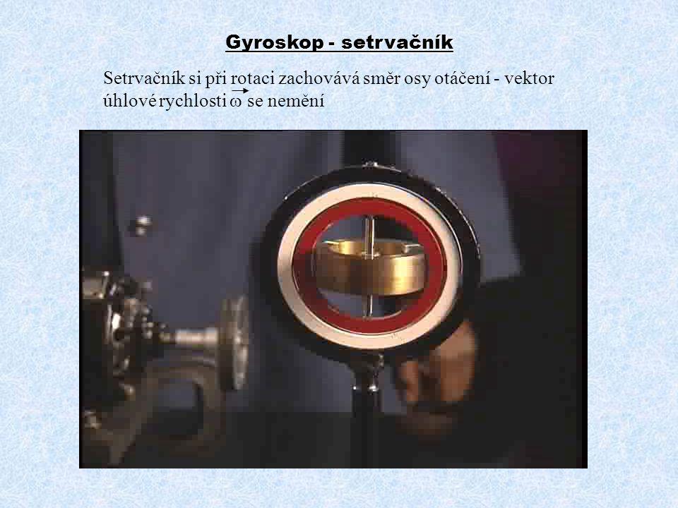 Gyroskop - setrvačník Setrvačník si při rotaci zachovává směr osy otáčení - vektor úhlové rychlosti w se nemění.