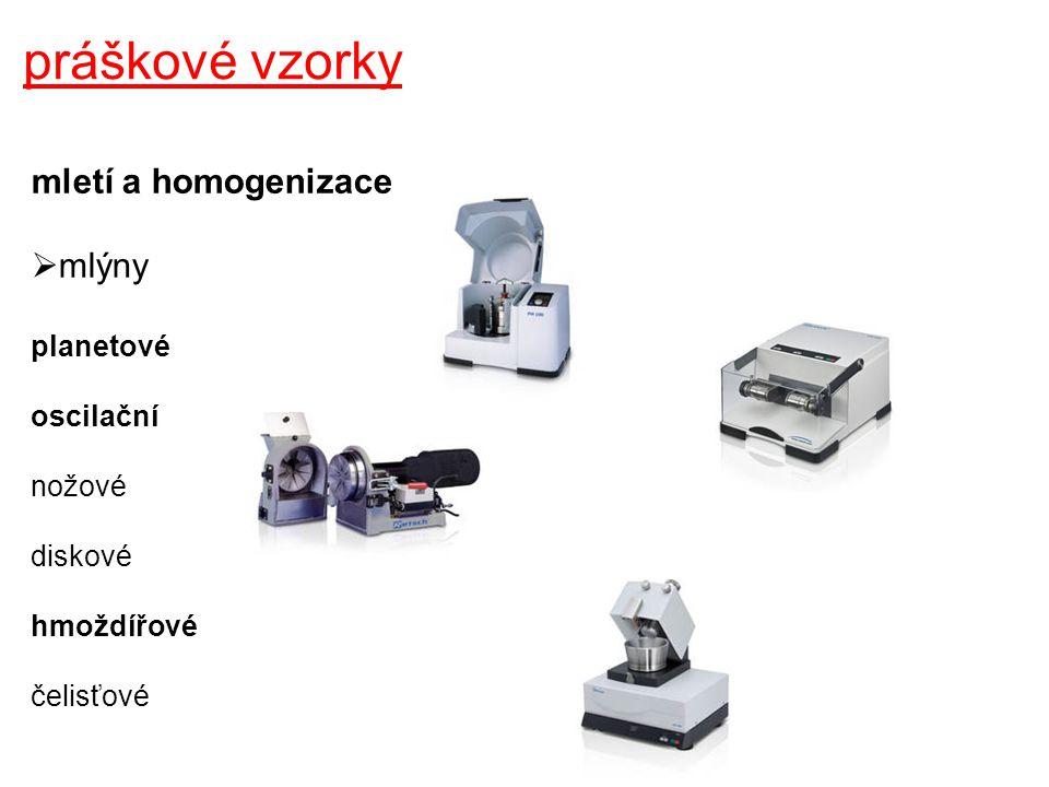 práškové vzorky mletí a homogenizace mlýny planetové oscilační nožové