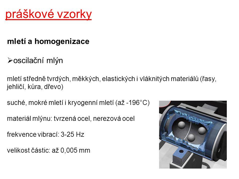 práškové vzorky mletí a homogenizace oscilační mlýn