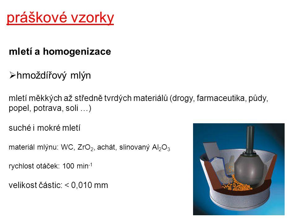 práškové vzorky mletí a homogenizace hmoždířový mlýn
