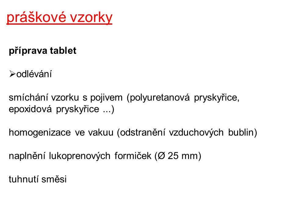 práškové vzorky příprava tablet odlévání