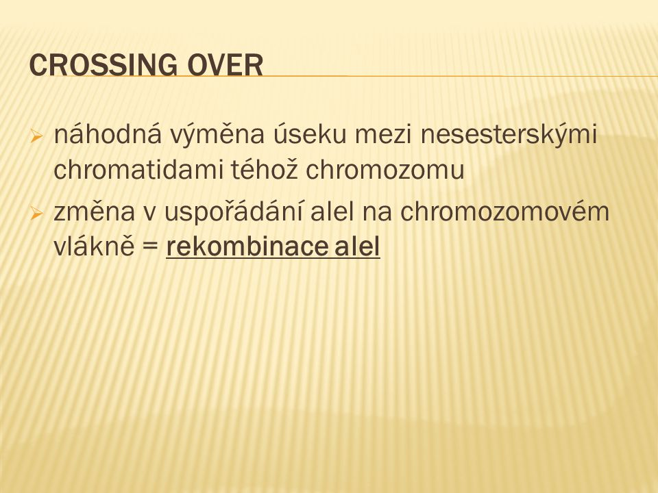 CROSSING OVER náhodná výměna úseku mezi nesesterskými chromatidami téhož chromozomu.