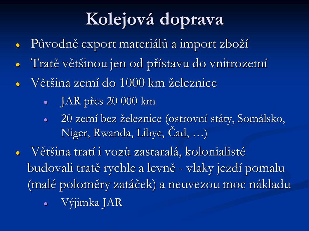 Kolejová doprava Původně export materiálů a import zboží
