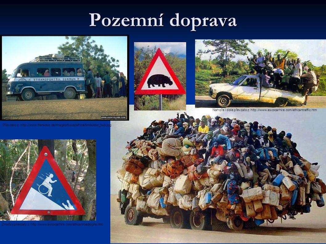 Pozemní doprava Nahoře i dole převzato z: http://www.ascocarhire.com/africantraffic.htm.