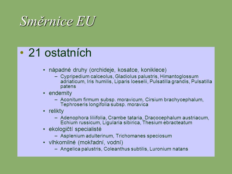 Směrnice EU 21 ostatních nápadné druhy (orchideje, kosatce, koniklece)