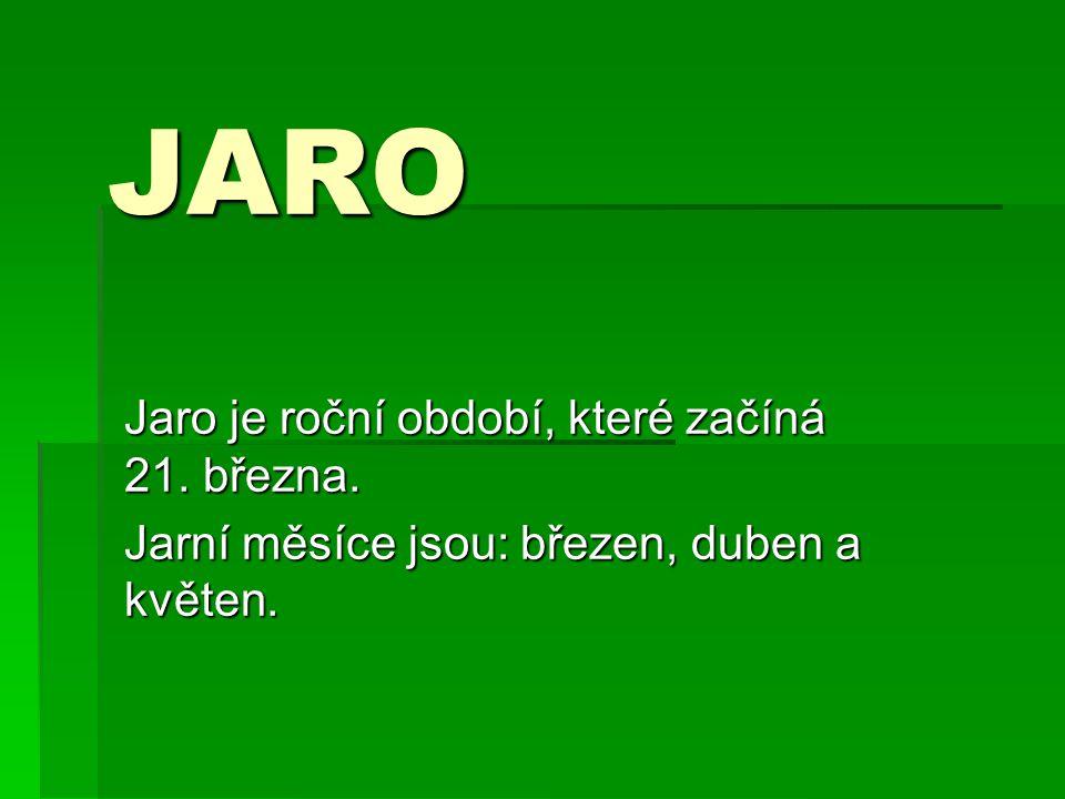 JARO Jaro je roční období, které začíná 21. března.