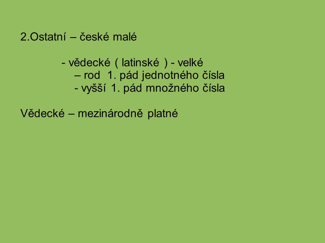 2.Ostatní – české malé - vědecké ( latinské ) - velké. – rod 1. pád jednotného čísla. - vyšší 1. pád množného čísla.